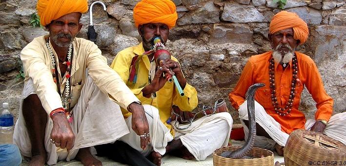Charmeurs de serpents à la foire de chevaux et de chameaux à Nagaur en Inde.