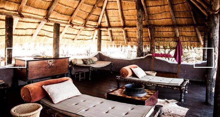 Camp fixe dans le Kalahari au Botswana